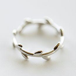 4c2b4643a7ef Anillos de plata para mujer Nueva plata de ley 925 (ajustable Olive Branch  Ring) Joyas de plata Venta caliente