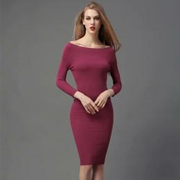 387819cf602a2 2018 femmes vêtements trois quarts manches slash cou solide robe moulante  tricotée