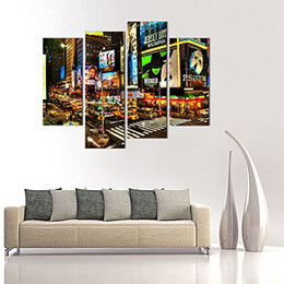 $enCountryForm.capitalKeyWord Australia - 4 Piece Canvas Paintings New York Times Square Painting Picture Prints On Canvas City Night Scene Wall Art For Home Decor with Wooden Framed