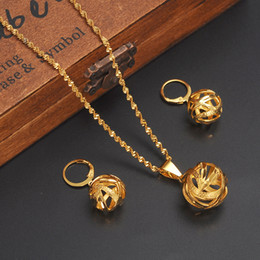 edd408c5e790 Ethiopian Specific character Necklace Pendant Earring Hollow out basket Set  vogue Joias Ouro 24 k Yellow Fine Gold GF Jewelry African