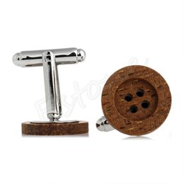 plated mens silver cufflinks 2019 - 1 Pair Funky Wooden Button Cufflinks Vintage Style Mens Party Wedding Gift cheap plated mens silver cufflinks