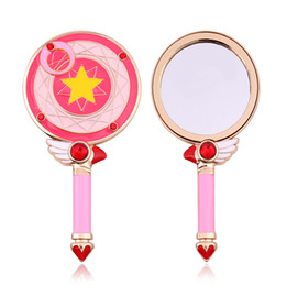 wholesale girls christmas dress NZ - Metal Pink Hand Mirror Round Cosmetic Dressing Cardcaptor Sakura Bird Head Star Make Up Mirror Christmas Gift for Ladies Girl
