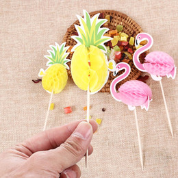 $enCountryForm.capitalKeyWord Australia - 2pcs Flamingo  Pineapple Cupcake Toppers DIY Cakes Topper Picks Cake Decor Birthday Wedding Party Favors