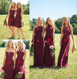 short chiffon olive bridesmaid dresses Canada - 2019 Burgundy Cheap Long Lace Chiffon Bridesmaid Dresses Mismatched Popular Custom Long Short Bridesmaid Dress For Wedding Guest