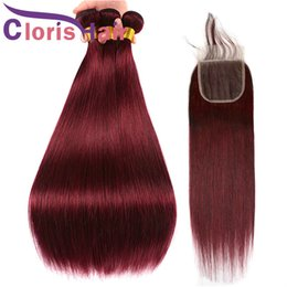 tissage brazilian hair 2019 - Raw Virgin Indian Straight Hair Bundles With Closure #99J Wine Red Color Human Hair Weaves With 4x4 Lace Closure Burgund