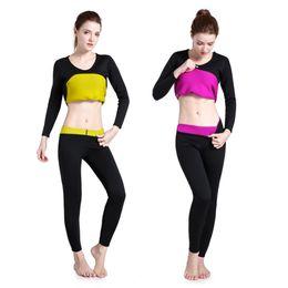 Shaper Shirts NZ - Long Sleeve Neoprene Hot Sweat Body Shaper Woman Shirt Sports Clothing Tops Slimming Running Gym Training Fitness Sportswear