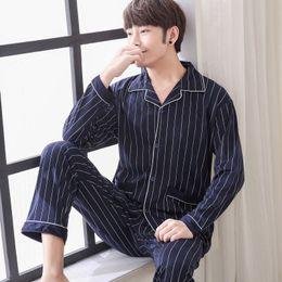 2018 Yuzhenli Men Pajama Sets Spring Autumn Winter Plus Size 100% Cotton  Long-sleeve Male Sleepwear 3XL Lounge Set Tracksuit Set aafe4d609