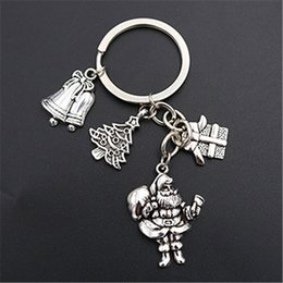 antique silver chain wholesale NZ - WKOUD 1pc Antique silver Santa * Christmas tree * Christmas bell gift creative handmade DIY charm alloy key chain