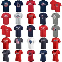 eae284480 2018 All-Star Game Mens Womens Youth Navy National American League Logo Big    Tall T-Shirt Building Silhouette Performance Red Navy V-neck