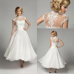 $enCountryForm.capitalKeyWord UK - Vintage High Neck A-Line Wedding Dresses Ankle Length Applique Lace Beaded Short Bridal Gowns Custom Made Wedding Dresses DH4151