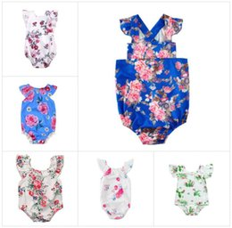 newborn girl clothes boutique 2019 - baby Floral Romper Newborn Flying sleeves Flowers Print Jumpsuits 2018 Summer Boutique kids Shoulderless Climbing clothe