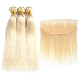 Wholesale 8a Brazilian Virgin Hair Blond Bundles with Frontal Closure Top Lace Frontal and Bundles Silk Straight Hair Bundles and Frontal