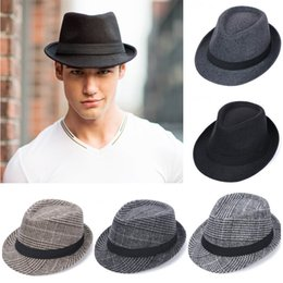 Discount black fedora fashion women - Unisex Wool Felt Fedora Hat With Band Classic Solid Plaid Jazz Church Top Caps Panama Bowler Brim Caps For Gentleman