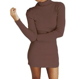 4f5724f176f Autumn Winter Warm Dress Women Knit Sweater Dresses Turtleneck Long Sleeve  Solid Sexy Bodycon Mini Dresses Robe Mujer GV1003