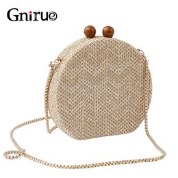woven clutch bags UK - Fashion Women Messenger Bags Knitted Vintage Day Clutches Evening Bags Woven Chain Shoulder Crossbody Handbag Purse