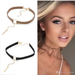 $enCountryForm.capitalKeyWord Australia - Punk New Fashion 4 Colors Leather Choker Necklace Gold Plated Geometry With Round Pendant Collar Necklace For Women Girls KKA2204