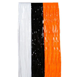 $enCountryForm.capitalKeyWord UK - Black White Orange Plastic Fringe Foil Curtain Shimmer Tinsel Birthday Halloween Party Backdrop Doorway Decorations ZA6511