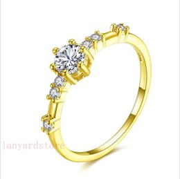 $enCountryForm.capitalKeyWord NZ - 2018 New design plated 925 silver 14K gold 7 small broken diamonds delicate and fresh agete style ring ring jewelry free shipping.