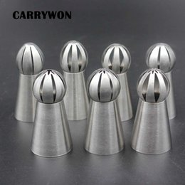Kitchen Decorators Australia - CARRYWON Newest 7pcs 304 Stainless Steel Sphere Nozzles Ball Tips Add Nozzle Coupler Wholesal Kitchen Cake Molds Tools