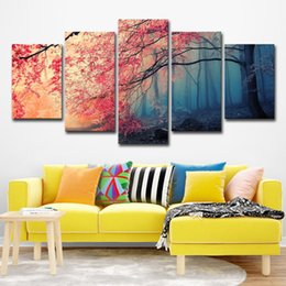 $enCountryForm.capitalKeyWord Canada - Canvas HD Prints Posters Home Decor Wall Art Red Trees Forest Pictures 5 Pieces Cherry Blossoms Paintings Living Room