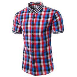 Red Plaid Mens Dress Shirt Australia - 2017 New Plaid Shirt Men Slim Fit Casual Short Sleeve Shirt Mens Famous Brand Hawaiian Dress Camisa Social Masculina M-3XL TU202