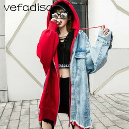 women zipper denim jackets Canada - Vefadisa Patchwork Denim Jacket for Women 2018 Autumn Outerwear Long Sleeve Jeans Coat Hooded Jacket Loose Red Coats AD2063