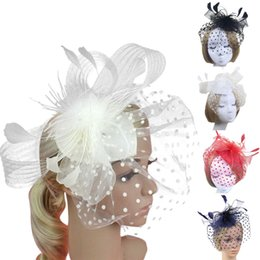 Wholesale Elegant Lady Feather Fascinator Cocktail Hat Hairpins for Wedding Party Hair Clip French Mesh Veil Hair Band Accessories