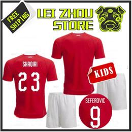 d06577450 2018 World Cup Switzerland Adult Child KIT Football Shirt SHAQIRI EMBOLO  KIDS Baby Shorts Set INLER XHAKA BEHRAMI JERSEY Football Sweatshirt