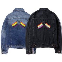 f83c8b06130b 18FW BB Rainbow Flag Heavy Work Wash chaqueta de mezclilla hombres y  mujeres moda de alta calidad chaqueta negra y azul HFBYJK171