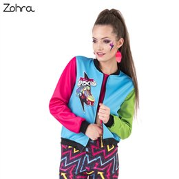 printed bomber jackets for women UK - Zohra 2017 New Spring Women Bomber Jacket Roller Disco Printing Stitching Casaco Feminino Fashion Sexy Basic Jacket for Woman