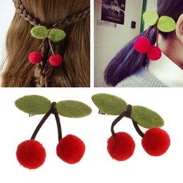 Discount girl hair accessories cherry - 2Pcs Baby Hairpins Cashmere Cherry Hair Clip Girls Hair Accessories Ornament