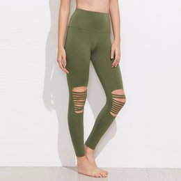 2a7b77f7b1 2018 New ArmyGreen Moto Yoga Leggings Quick-drying Patchwork Yoga Pants for  Women Black High Waist Hollow Sports Pants