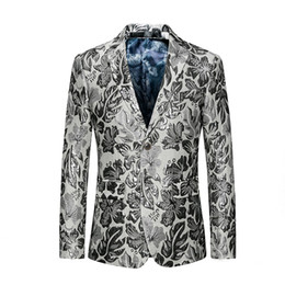 $enCountryForm.capitalKeyWord Australia - 3d Puff Jaquard Blazer Silver Floral Blazer Slim Masculino Luxury Men Stylish Prom Club Flower Suit Jacket Asian 6xl