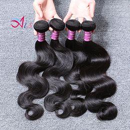 Cheap human hair dhl online shopping - 6A Cheap Brazilian Body Wave Bundles Hair Weaves Natural B Body Wave Human Hair Bundles for Halloween Day Tangle Free No shedding DHL Free
