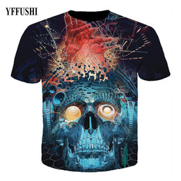 China YFFUSHI 2018 Male 3D T shirt Fashion Blue Machine Skull Print Hip Hop Tees Summer Cool Slim Fit Male T-shirt Plus Size S-5XL supplier printed t shirts machine suppliers