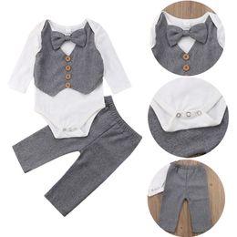 $enCountryForm.capitalKeyWord NZ - Infant Newborn Baby Boys Gentleman Bow Tie Romper Tops Pants 2-piece set Outfits Kids Baby Boys Clothes Wedding Long Sleeve Kid Clothing Set