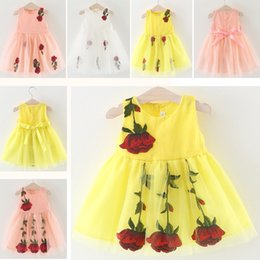 Discount halloween clothing for babies 6 Styles Baby Princess Dress Summer Sleeveless Flower Dresses For Party Wedding Cosplay Lace Tutu Dress Kids Clothing HH