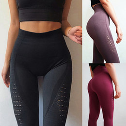 Wholesale Yoga Pants Canada - 2018 New Sexy Yoga Pants Women Push Up Sport Leggings High Waist Running Tight Hollow Out Breathable Sport Workout Gym Clothing