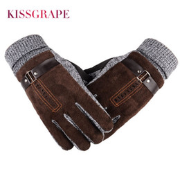 thick leather gloves 2019 - 2017 Winter Men's Warm Gloves Natural Suede Leather Gloves Mittens Male Thick Thermal Leather Men Knitted Guantes cheap