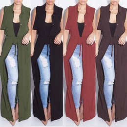 black dusters 2018 - 2018 New Fashion Sleeveless Trench Coat Balck Wine Chiffon Duster For Women Overcoat Outwear Causal Robe Long Plus Size