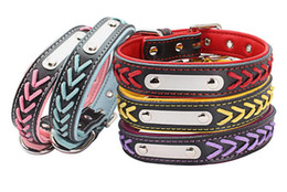 knit dog collar 2018 - Stainless steel sheet dog collar pet belt color knitted leather dog collar L467 cheap knit dog collar