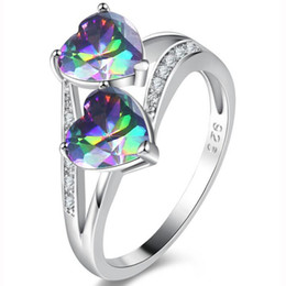 bulk christmas gifts Canada - 5pcs lot Bulk Price Christmas Gift 925 Sterling Silver Classic Rainbow Mystic Topaz Gems Ring R10101631935a