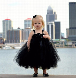 Flower Girl Wedding Dress Strap NZ - 2018 black tulle ball gown flower girl dresses for wedding Gothic handmade flowers tea length spaghetti straps Kids Girls Pageant Dresses