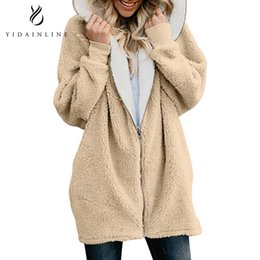 woman plush clothes NZ - 2018 Autumn Winter Women Fashion Plush Jacket Hooded Cardigan Zipper Long Ladies Female Coat Warm Loose Outwear Winter Clothes