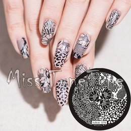Discount zebra tools - New Stamping Plate hehe76 Nail Art Template Flower Leopard Animal Zebra Lace Pattern Wild Style Stamping Transfer DIY To