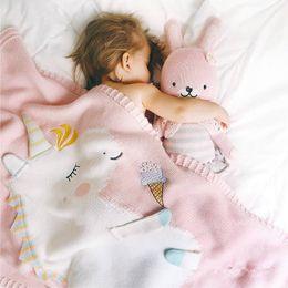 $enCountryForm.capitalKeyWord Canada - Kids Cute Unicorn Knitting Blanket Bedding Quilt Play Blanket Air Conditioning Blanket Boy Girls Knit Blankets Quilt