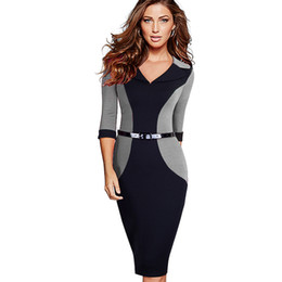 b6b7abd4a4 Professional Women Elegant Casual Work Business Office Classic V Neck  Belted Colorblock Contrasting Bodycon Pencil Dress