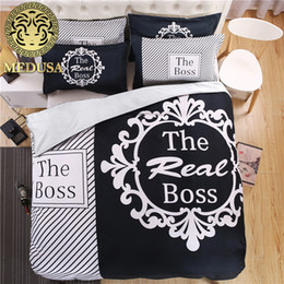 king size pillow cases Canada - the boss black and white his her side bedding set duvet cover bed sheet pillow case king queen size bed linen set 3 4pcs