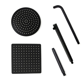 12 rain shower head online shopping - Black Round and Square Rain Shower Head Ultrathin mm Inch Choice Bathroom Wall Ceiling Mounted Shower Arm
