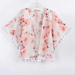 Girls Cotton Poncho Wholesale Australia - Girls Flower Fringe Shawl Outerwear 2018 INS Fashion Kids Boutique Clothing Little Girls V-Neck Short Sleeves Thin Cardigan Capes